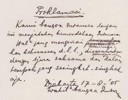 Sejarah Indonesia :  Teks Proklamasi yang ditulis tangan oleh Bung Karno dan Bung Hatta