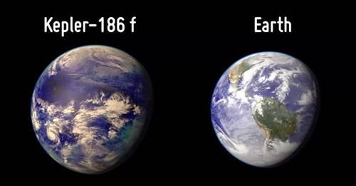 Planet Kepler 186 f dibandingkan dengan Bumi