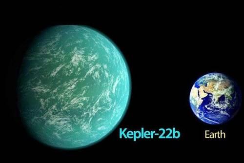 Gambar Planet Kepler 22b dengan Bumi