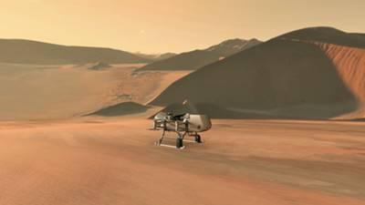 Rotorcraft NASA, Dragonfly, mendekati sebuah lokasi di bulan milik Saturnus, Titan