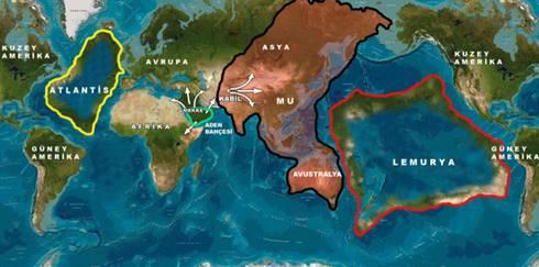 Ilustrasi peta Lemuria dan Atlantis