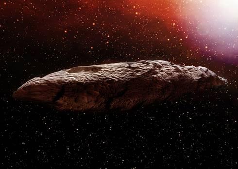 Ilustrasi bentuk Oumuamua