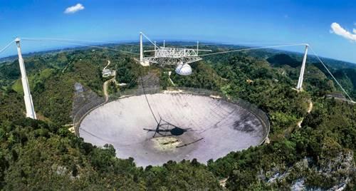 pemandangan teleskop arecibo dari jauh